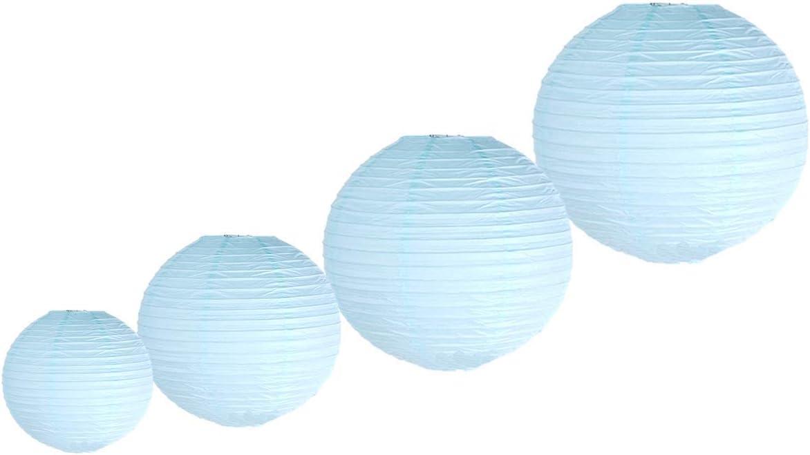 10,2 cm, 15,2 cm, 20,3 cm, 25,4 cm Lot de 4 lanternes chinoises rondes d/écoratives en papier Plusieurs tailles et couleurs