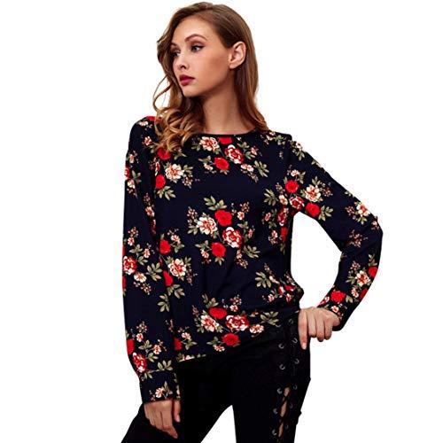Sunhusing Fashion Ladies Long Trumpet Sleeve Shirt Women's Print O-Neck Casual Top Shirt ()