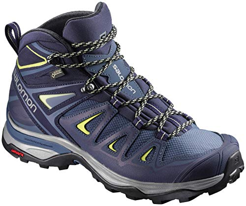 Salomon Women's X Ultra 3 Mid GTX Hiking Boots, Crown Blue/Evening Blue/Sunny Lime, 10.5