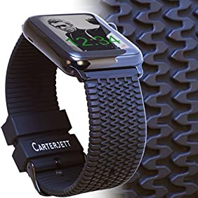 Apple Watch Band 42mm TIRE TREAD Sport Silicone iWatch Band / Rugged Black Rubber Straps with Space Black Adapters for Apple Watch Series 2, Series 1, Sport & Edition by CARTERJETT (S/M)