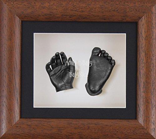 BabyRice 3D Baby Boy Casting Kit Dark Wood Effect Frame Pewter Foot Casts