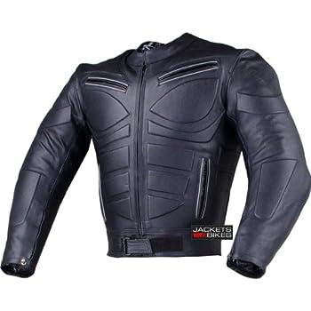 Amazon.com: TRACK MOTORCYCLE BIKER ARMOR LEATHER JACKET BLACK L ...