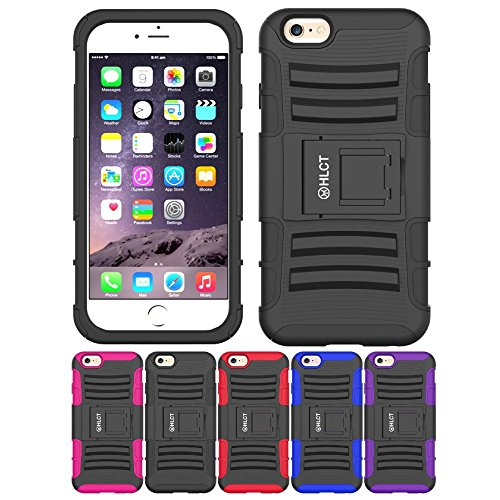 Price comparison product image iPhone 6S / 6 Case,  HLCT Rugged Shock Proof Dual-Layer Case with Built-In Kickstand for iPhone 6s / 6 4.7 Inch (Black)