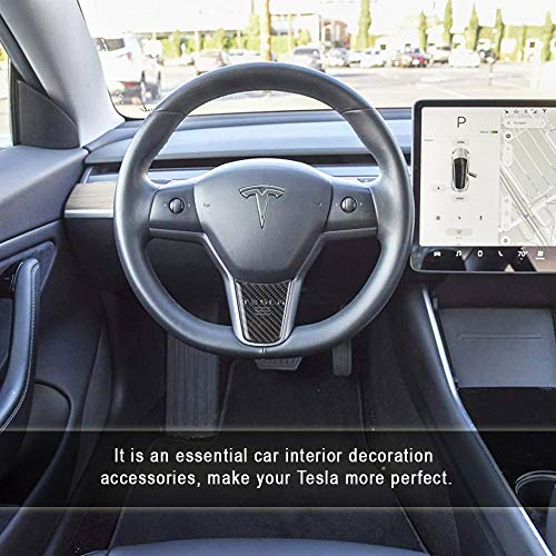 CoolKo Newest Tesla Carbon Fiber Steering Wheel Down Black Sticker for Tesla Model 3 1 Piece