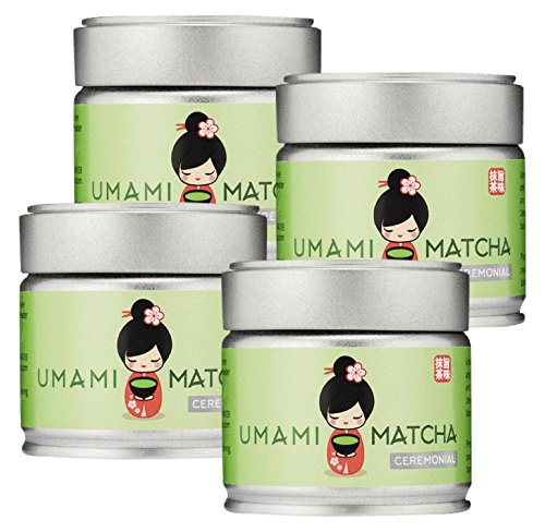 4 Pack of UMAMI MATCHA Green Tea | Ceremonial Grade Japanese Matcha Tea Powder | 1st Harvest | All Natural | (1oz/30g tin) - 4 Pack by UMAMI MATCHA