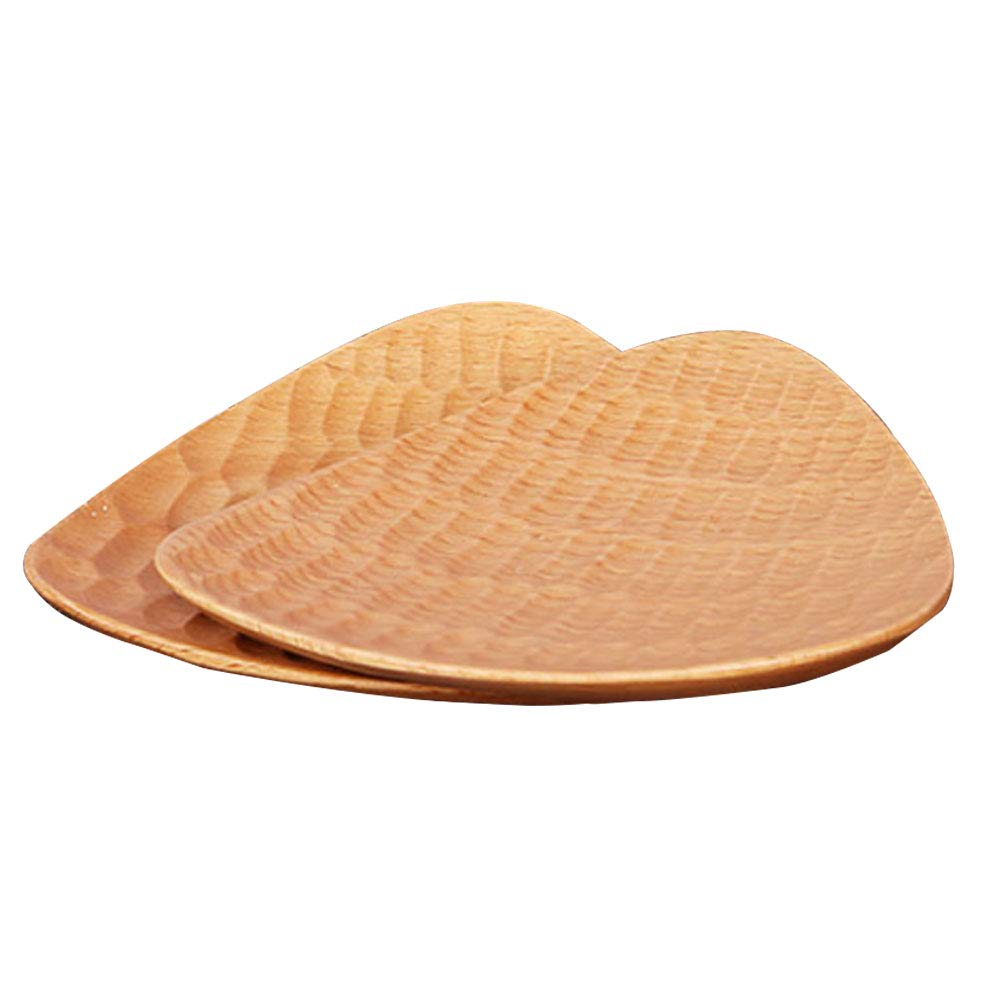 ReFaXi Japanese Snack Plate Dishes Wooden Creative Tortoiseshell Hand-Carved (Color1)