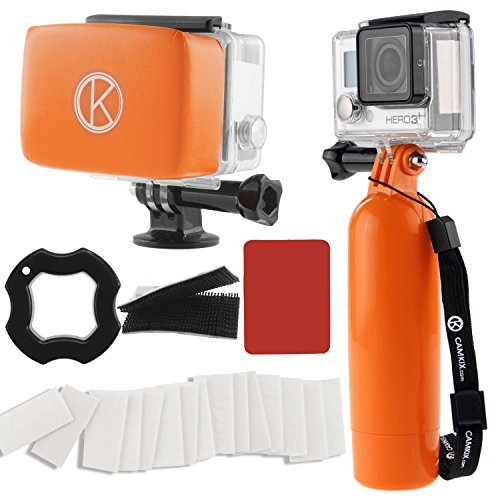 CamKix GoPro Accessory Bundle including Bobber, Removable Floaty, Anti-Fog Inserts, Thumbscrew, Wrist Strap compatible with GoPro Hero 4 / Hero+ LCD / 3+ / 3 / 2 / 1 (Orange)