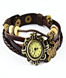 Nexxa Vintage Antique Retro Style Weave Wrap Leather Strap Trendy Ladies Bracelet Watch With Butterfly Pendant (BROWN)