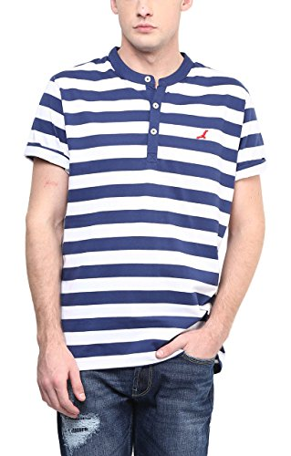 American Crew Men's Striped Henley Half Sleeves T-Shirt (White & Navy Blue)
