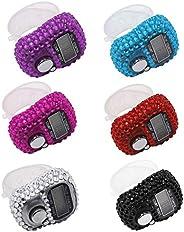 Gzingen 6 Pcs Finger Counters - 5 Digital LED Electronic Finger Counter, Mechanical Manual Clicker Number Lap