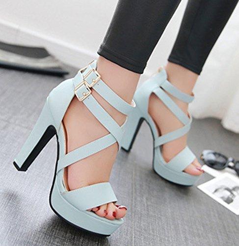 Bleu Sandales Mode Talon Femme Bout Bloc Ouvert Aisun 0fvqx