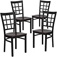 Flash Furniture 4 Pk. HERCULES Series Black Window Back Metal Restaurant Chair - Mahogany Wood Seat