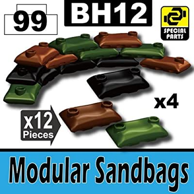 Custom Camo Army Sandbags Designed for Toy Brick Minifigures: Toys & Games
