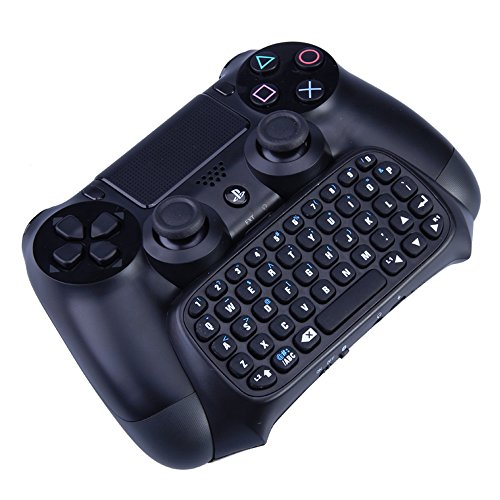 VersionTech Black Wireless Bluetooth Text Messenger Game Gaming Keyboard Chatpad Controller GamePad For Sony PlayStation 4 PS4