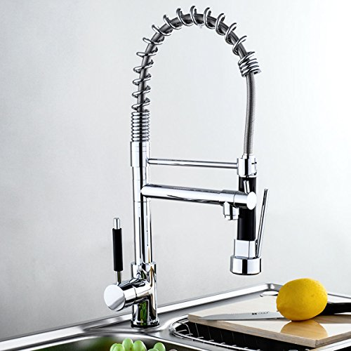 GHP Chrome Ceramic Valve Brass Body Kitchen Sink Vessel Faucet with 2 Spray Heads