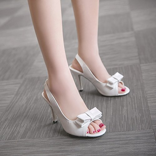 Easemax Womens Elegant Bows Peep Toe Elastic Slingback High Stiletto Heel Sandals White K1fQZ7p