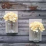 Set of Two Sunbleached Wooden Rustic Mason Jar Wall Sconce Country Decor With Optional Off White Hydrangea Spray Review