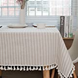 kitchen tablecloths - ColorBird Stripe Tassel Tablecloth Cotton Linen Dust-proof Table Cover for Kitchen Dinning Tabletop Decoration (Rectangle/Oblong, 55 x 70Inch, Beige)
