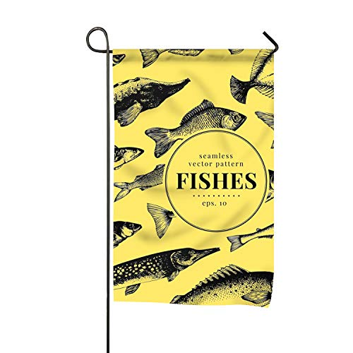 (Niaocpwy House Flag Seasonal Banner 16 x 30 inch Fish Pattern Garden Flags for Indoor and Outdoor Decoration)