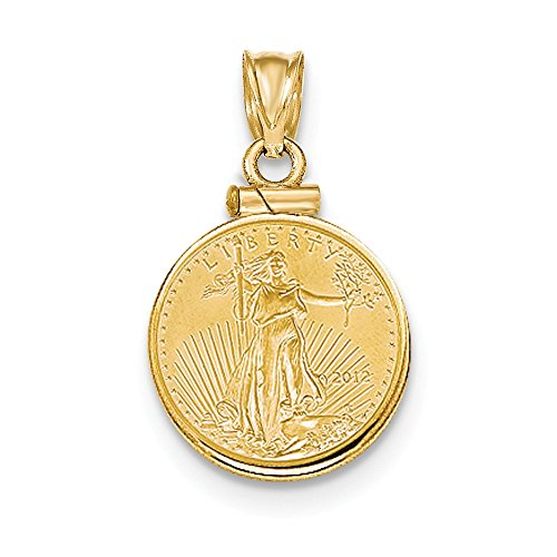 (Mia Diamonds 14k Yellow Gold 1/10th oz Mounted American Eagle Screw Top Coin Bezel)