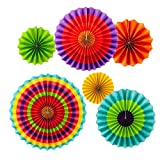 12 Colorful Fiesta Hanging Paper Fans Party DecorationParty Supplies 8'' 12'' 16''