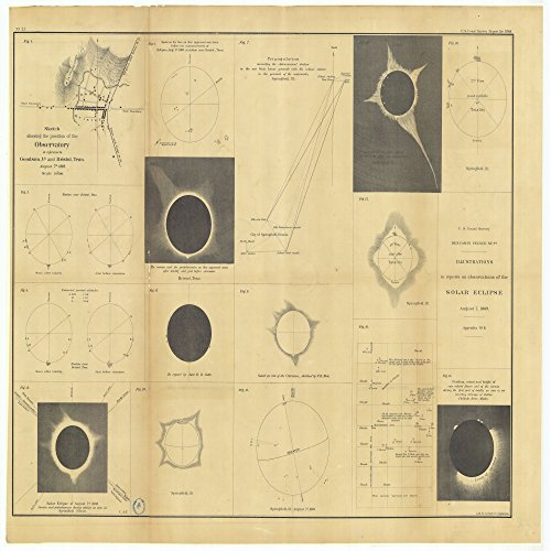 Vintography 8 x 12 inch 1869 Tennessee Old Nautical map Drawing Chart Illustrations to Reports on Observations The Solar Eclipse, August 7, 1869, Appendix #8 Others Included. from U.S. Coast Survey by Vintography