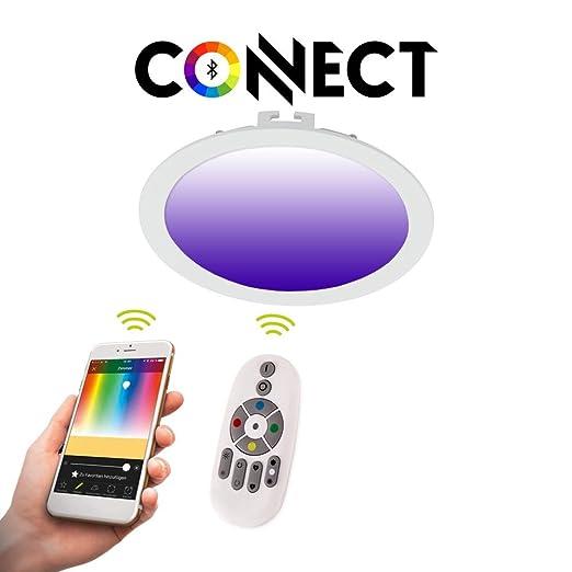 Connect LED-Einbaupanel Ø22,5cm Alu-Matt 2000lm RGB+CCT LED Einbauspot