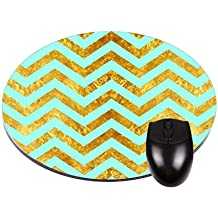 "Gold Rust Print Chevrons on Turquoise- TM 8"" Round Mousepad/Mouse-Mat-Great Desk Accessory Made in the U.S.A."