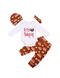 Infant Baby Boy Girl Thanksgiving Outfits Bodysuit Pants with Hat and Headband