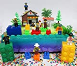 Brick Masters Block Builders Birthday Cake Topper Set Featuring Figures and Decorative Themed Accessories