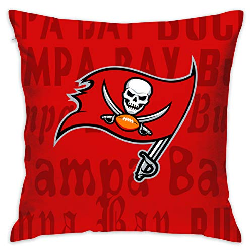 Gdcover Custom Colorful Tampa Bay Buccaneers Pillow Covers Standard Size Throw Pillow Cases Decorative Cotton Pillowcase Protecter Zipper - 18x18 Inches