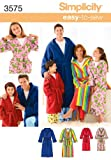 Unisex Child, Teen and Adult Robe Simplicity sewing pattern 3575, part of Simplicity Winter 2007 collection. Pattern for 1 looks. For sizes A (XS-L/XS-XL).