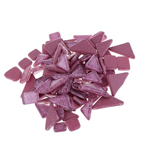 Prettyia 200g Assorted Colors Bulk Glass Mosaic Tiles Pieces for DIY Hobbies Art Craft Material Accessories - Irregular Glitter Mosaic Tiles with Storage Box - Rose Red