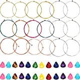 #6: Hestya 3 Sets of 6 Acoustic Guitar Strings Steel String Replacements with 24 Pieces 0.46 mm Colorful Celluloid Guitar Picks (Yellow, Red, Multicolor)