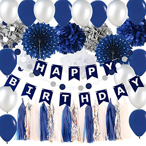 Navy Silver Birthday Party Decorations Boy/Bridal Shower Decorations Tissue Pom Pom Latex Balloons Silver Polka Dot Paper Fans for Boy First Birthday Decorations Outer Space Birthday -