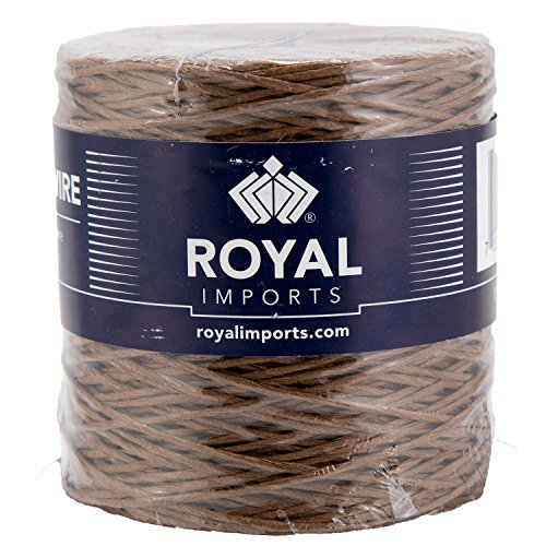 Brown Floral Bind Wire Wrap, Paper Covered Waterproof Rustic Vine for Flower Bouquets 26 Gauge (673 Ft) by Royal Imports - Brown 26'