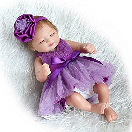 Pinky 26cm 10 Inch Mini Hard Vinyl Silicone Full Body Reborn Baby Doll Realistic Newborn Dolls with Blue Dress Xmas Birthday Present NUER Collection
