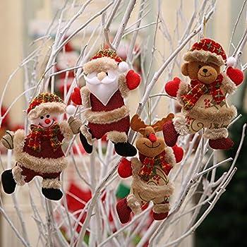 4pc Christmas Plush Ornaments Set, Christmas Tree Pendant Plush Hanging Decoration Santa Claus Snowman Tree Reindeer Toy Doll Hang Decorations, Xmas Ornaments Holiday Party Decor (Multicolor)