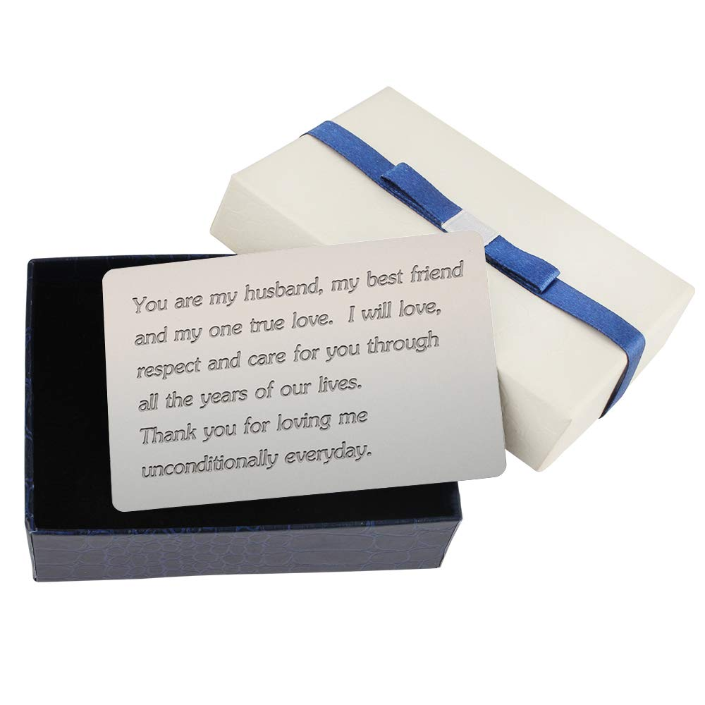 You Are My Husband, My Best Friend And My One True Love - Husband Wallet Card Insert, Engraved Metal Wallet Card with Free Gift Box; Husband Gifts from Wife, Wedding Anniversary Gifts for Husband