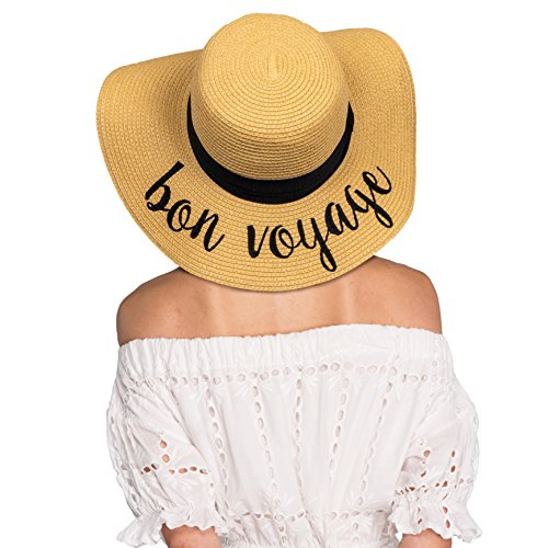 Hatsandscarf CC Exclusives Summer Lettering Straw Brim Hat with Ribbon Band (ST-2017) (bon voyage) by Hatsandscarf