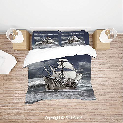 FashSam Duvet Cover 4 Pcs Comforter Cover Set Cloudy Sky Caribbean Pirates Ship Oil Print Like Art Image for Boys Grils Kids(Queen)