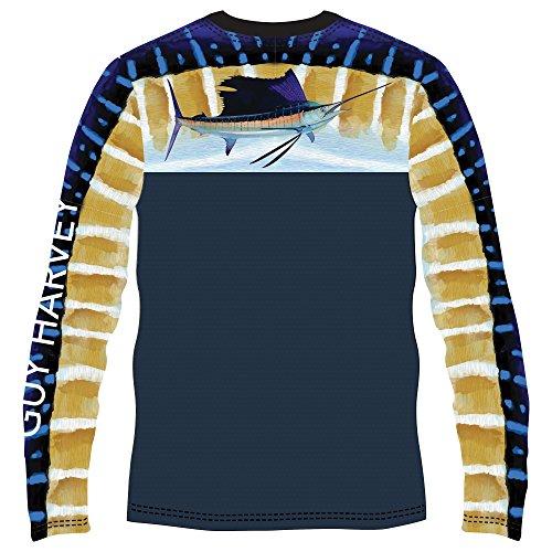 Guy Harvey Men's Del Mar Long Sleeve Performance Shirt, Navy, XL ()