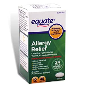 Equate - Allergy Cetirizine 10 mg, 45 Tablets (Compare to Zyrtec)
