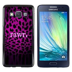 Patrón Leopard texto púrpura Rawr Piel- Metal de aluminio y de plástico duro Caja del teléfono - Negro - Samsung Galaxy A3