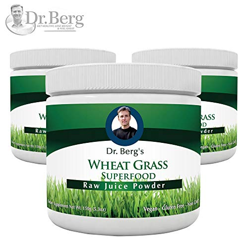 Dr. Bergs Wheat Grass Juice Organic Superfood Powder - Raw & Ultra-Concentrated Nutrients - Rich in Vitamins, Chlorophyll & Trace Minerals - 60 Servings - Gluten Free - Non GMO - 5.3 oz (3 Pack)