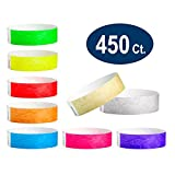 WristCo Super Variety Pack 3/4'' Tyvek Wristbands - 9 most popular colors - 450 Ct. Neon Green, Red, Blue, Orange, Yellow, Pink, Purple, Gold, Silver Paper Wristbands For Events