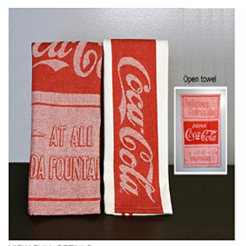 youngs Inc Jacquard Coca Cola Tea Towel Set of 2, Multi (Coca Cola For Kitchen)