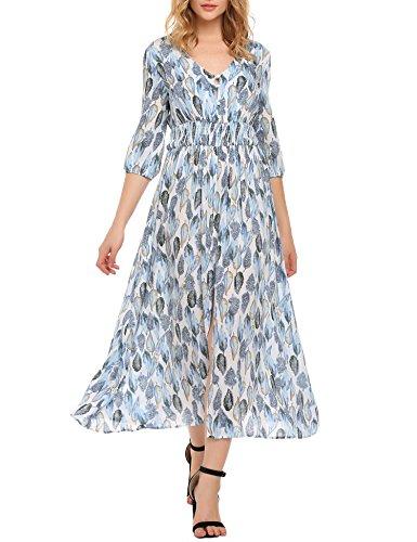 SE MIU Women's Vintage Floral Print Split Maxi Dress, Light Blue, -
