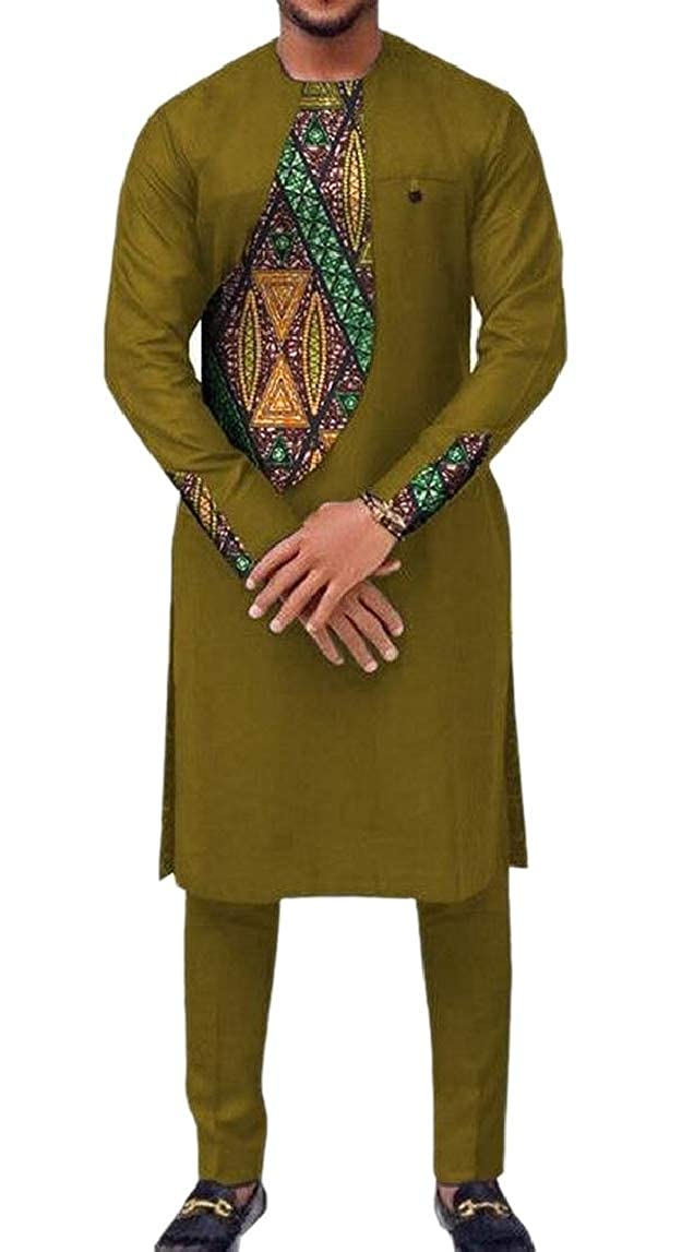 HTOOHTOOH Mens African Floral Patchwork Pullover Vogue Shirt 2 Piece Set Africa Pants