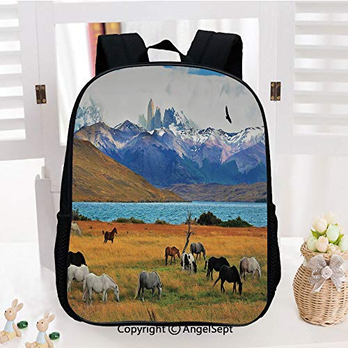 Kids Backpack Children Bookbag Animal Farm with Horses in the Vast Combe with Mountains Desert Art Photo Preschool Kindergarten Elementary School Travel Bag for Girls Boys,Multicolor